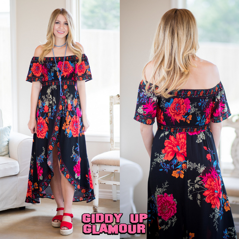 Getaway to Paradise Off The Shoulder Floral Dress in Black