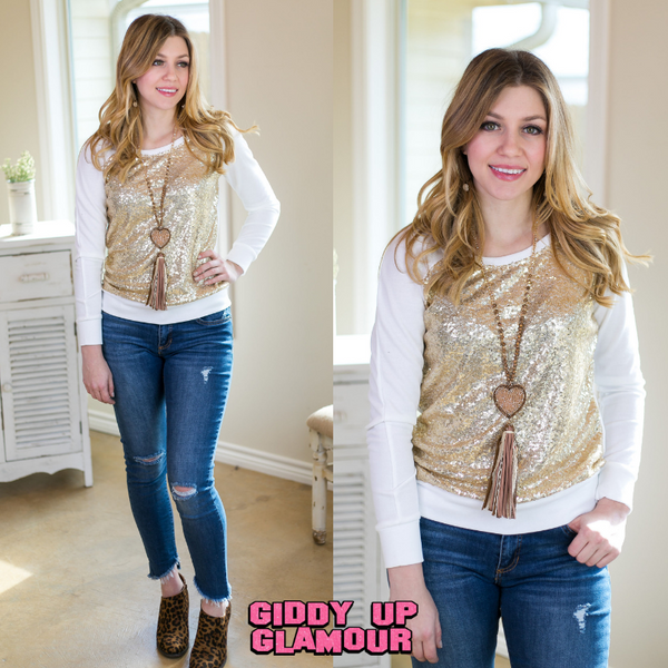 Sequins of Life Sweater with Gold Sequin Front in Ivory