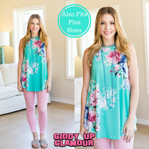 Casual Mood Sleeveless Floral Top in Mint Green