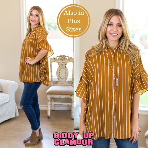 Only For Tonight Striped Button Up Blouse with Ruffled Sleeves in Mustard Yellow