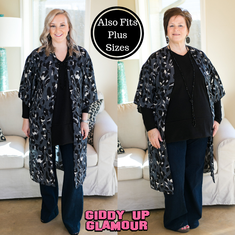 Fierce Instincts Leopard Print Duster Kimono in Charcoal Grey