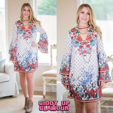 Everything For You Floral Print Dress in Ivory