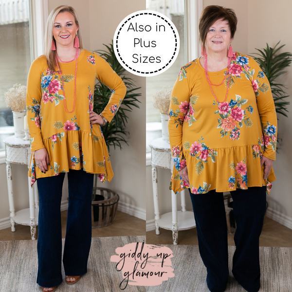 Online Only | Free To Wander Floral Long Sleeve Peplum Tunic in Mustard Yellow
