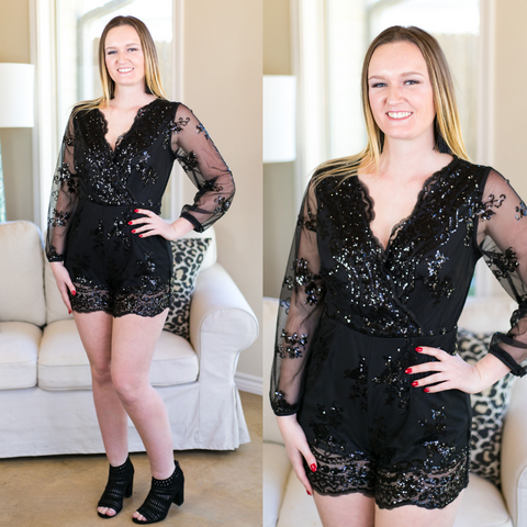 Ring The Alarm Sequin Romper in Black