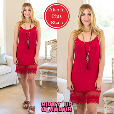 Cut to the Lace Cami Slip with Lace Trim in Red