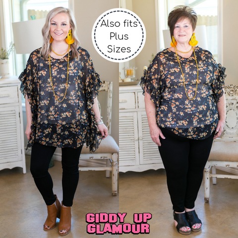 No More Excuses Floral Print Ruffle Poncho Top in Black