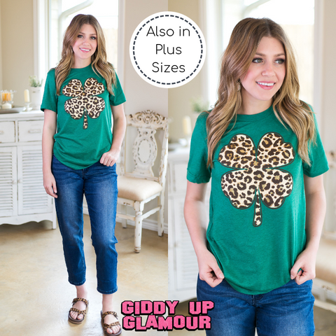 Luck of the Irish Leopard Print Clover Short Sleeve Tee Shirt in Green