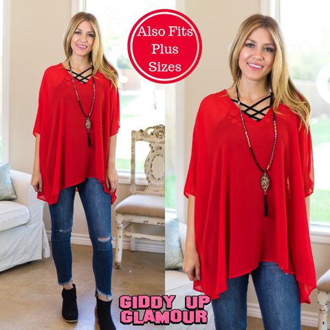 Sure Thing Sheer Oversized Poncho Top in Red