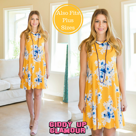 Maybe One Day Floral Swing Dress in Yellow