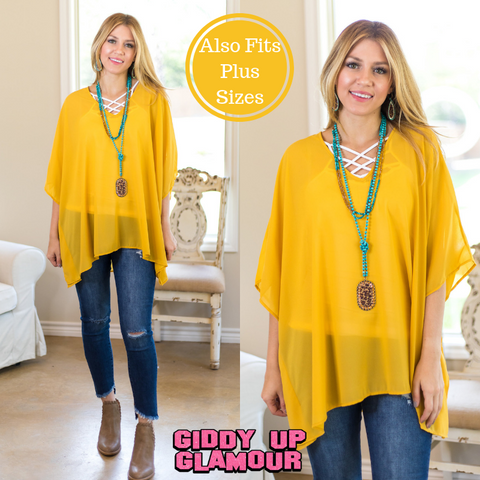 Sure Thing Sheer Oversized Poncho Top in Mustard Yellow