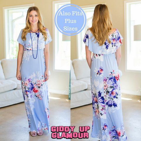 Away For The Summer Off Shoulder Floral Maxi Dress in Lilac