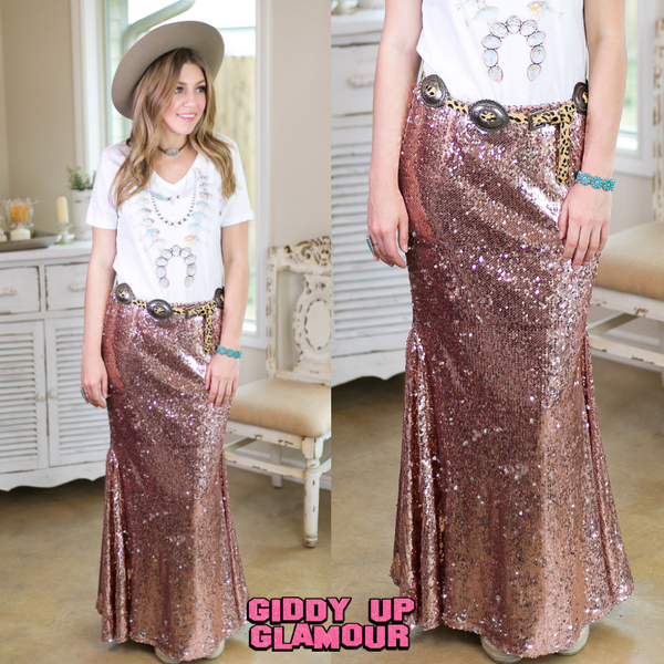 Everlasting Fairytale Sequin Maxi Skirt in Rose Gold