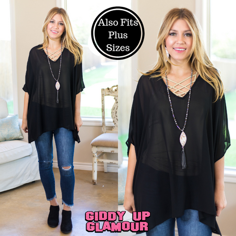 Sure Thing Sheer Oversized Poncho Top in Black