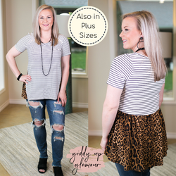Days Gone By Stripe Short Sleeve Top with Leopard Print