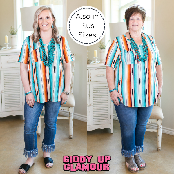Just Right Short Sleeve Serape Print Pocket Tee in Turquoise & Orange