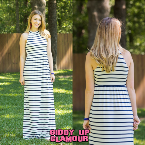 98a4be44877e Styled in Stripes Racerback Maxi Dress in Navy Blue ...