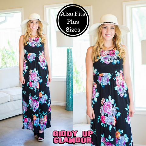 Feels Just Right Floral Maxi Dress with Razor Back in Black