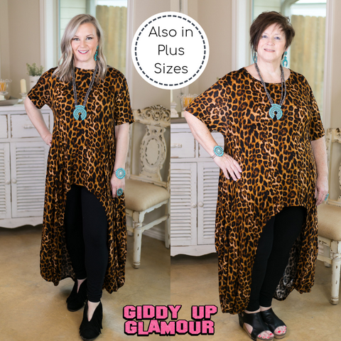 Don't Think Twice High Low Short Sleeve Top in Leopard