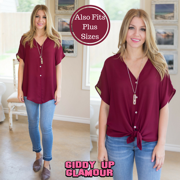 You Make It Easy Button Down Top with Front Tie in Maroon