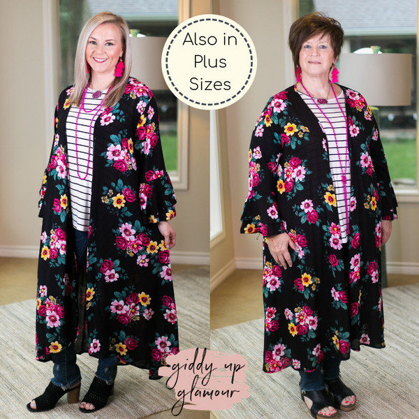 Southern Grace COME AWAY WITH ME Women's trendy missy plus size boutique clothing affordable bohemian  duster kimono floral black print cover up