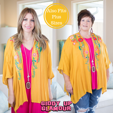 Tall Order Floral Embroidered Kimono in Mustard Yellow
