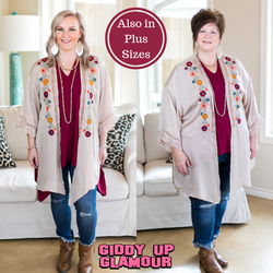 No Need To Think Floral Embroidered Kimono in Beige Tan