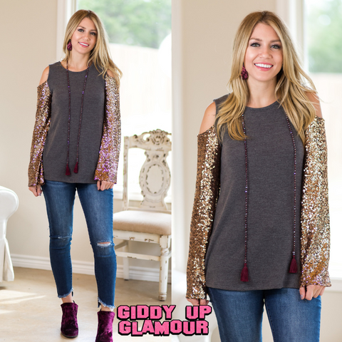 What A Night Sequin Cold Shoulder Top in Mocha