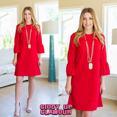 Chasing Memories Bell Sleeve Dress in Red