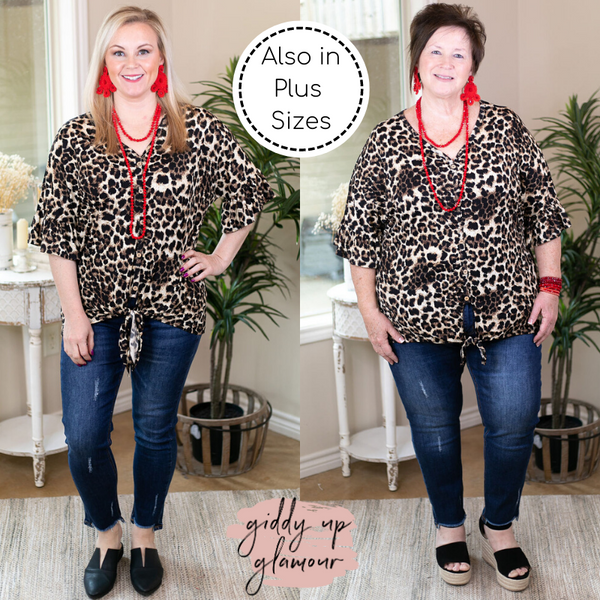 Can't Hide This Button Down Top with Front Tie in Leopard ruffle sleeves brown black