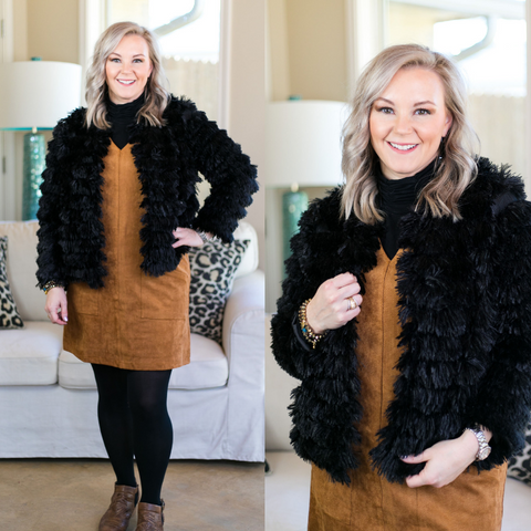 All Shook Up Fuzzy Faux Fur Jacket in Black