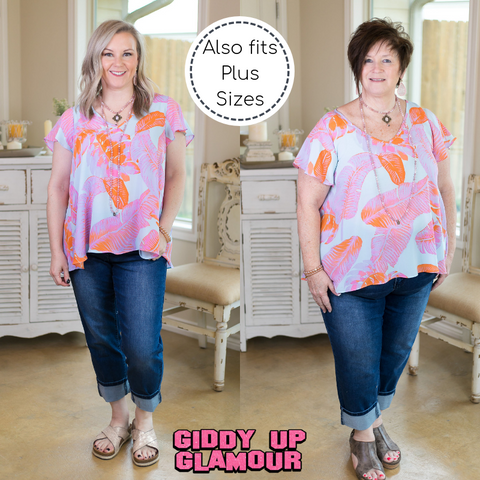 Sweet Surrender Palm Leaf Flutter Sleeve Top in Lavender & Coral
