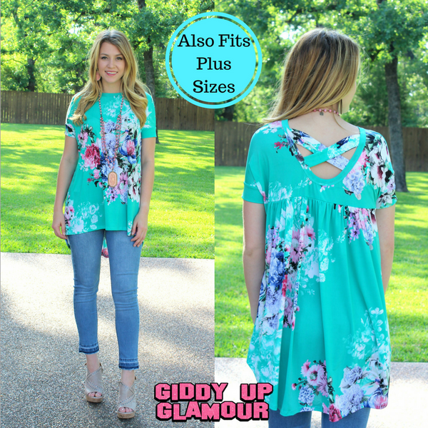 Something You Never Had Floral High-Low Tunic in Mint