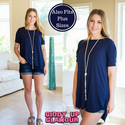 The Only Truth Short Sleeve Piko Tunic in Navy