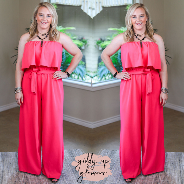 Making Statements Crepe Strapless Jumpsuit with Tie Waist in Hot Pink
