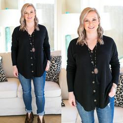 Plan On It Waffle Knit Button Up Top in Black