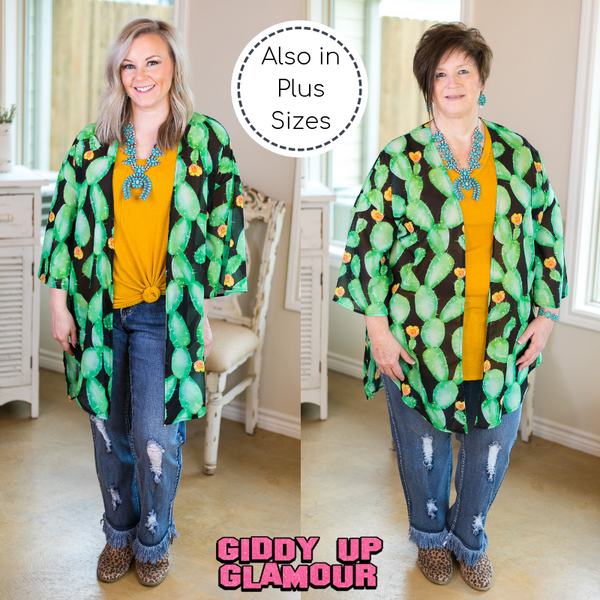 Southern Grace Cactus Makes Perfect Always on Point Women's trendy missy plus size boutique clothing affordable bohemian  duster kimono cactus print cover up