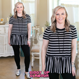 Lost in the Stripes Short Sleeve Ruffle Peplum Top in Black