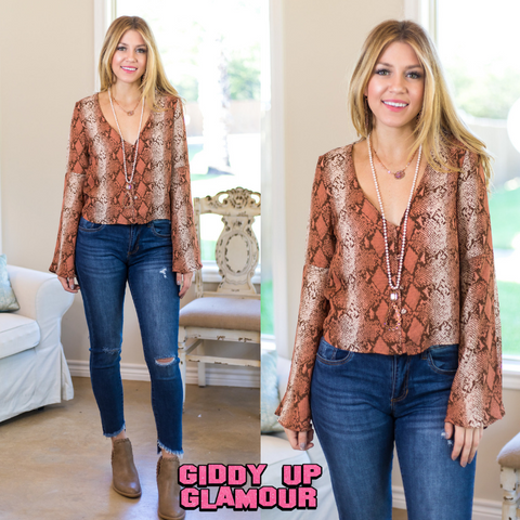 Touch of Wild Snakeskin Button Up Top in Blush