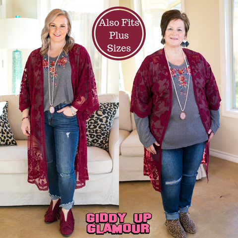 Spring Ahead Crochet Lace Duster in Maroon