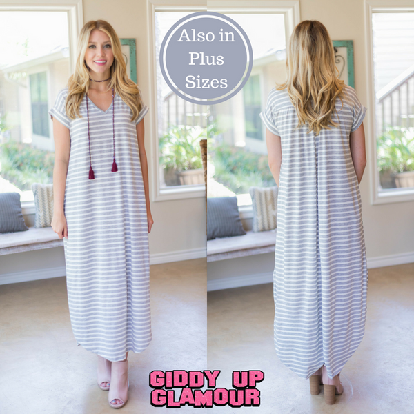 A One Time Fling Striped Tee Shirt Maxi Dress in Heather Grey