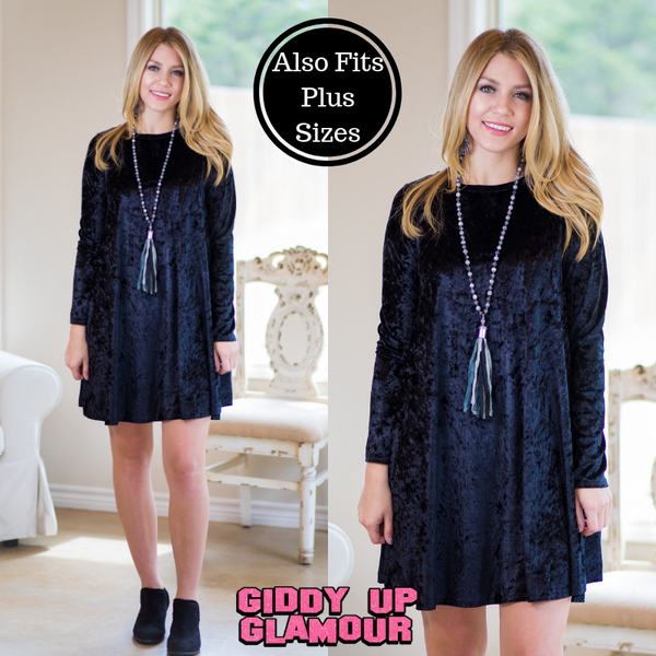 Dazzle and Delight Velvet A Line Tunic Dress in Black