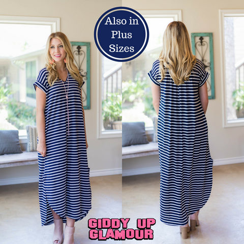 A One Time Fling Striped Tee Shirt Maxi Dress in Navy Blue