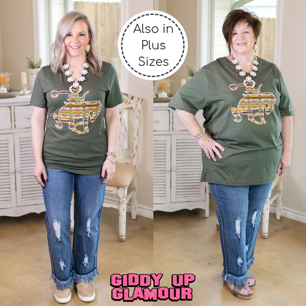 Ain't My First Rodeo Aztec Print Saddle Bronc Short Sleeve Tee Shirt in Olive Green