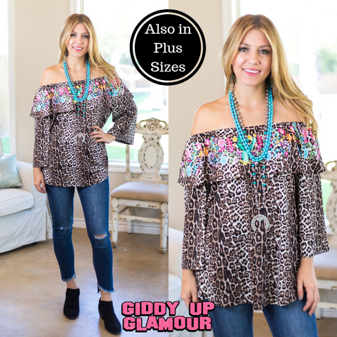 A Little On The Wild Side Off The Shoulder Top in Leopard