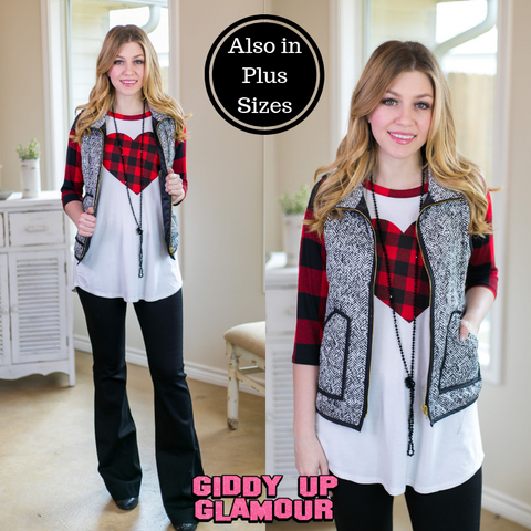 Afternoon Together Black and White Tweed Vest