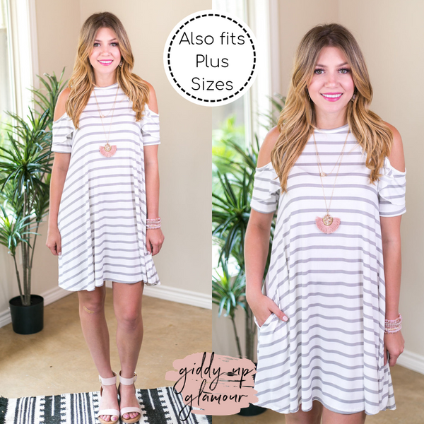 All Ruffled Up Grey and White Striped Cold Shoulder Dress