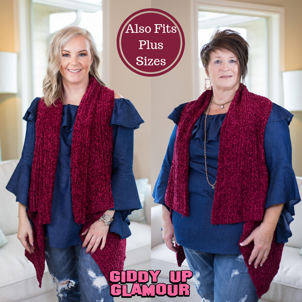 Favorite in the Fall Chenille Vest in Maroon