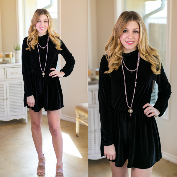 Velvet Dreams Long Sleeve Romper in Black