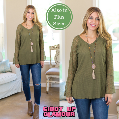 Just That Simple Waffle Knit Top with Lace Sleeves in Olive Green