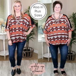 Day Dreamer Aztec Print Dolman Top in Red soft material red rust black 3/4 sleeves casual comfy
